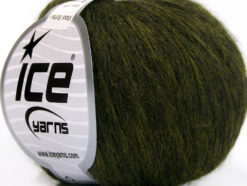 Lot of 8 Skeins Ice Yarns WOOL SOFTAIR (30% Wool) Yarn Dark Green Melange