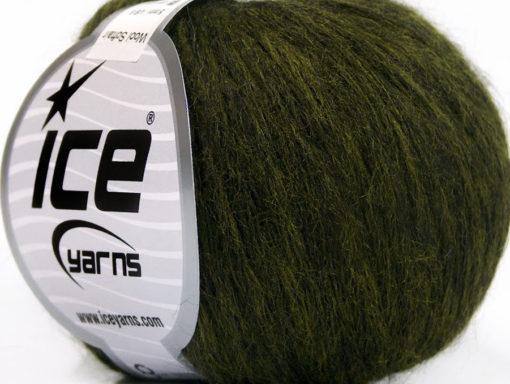 Lot of 8 Skeins Ice Yarns WOOL SOFTAIR (30% Wool) Yarn Dark Green Melange