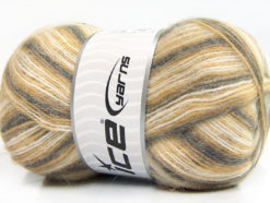Lot of 4 x 100gr Skeins Ice Yarns ANGORA SUPREME COLOR (70% Angora) Yarn Grey Cream Beige
