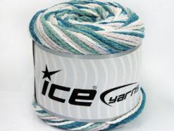 Lot of 2 x 150gr Skeins Ice Yarns CAKES AIR Yarn Teal Khaki Beige White