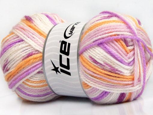 Lot of 4 x 100gr Skeins Ice Yarns FAVORITE BABY Yarn Lilac Shades Light Orange White