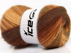 Lot of 4 x 100gr Skeins Ice Yarns ANGORA BATIK (20% Angora 20% Wool) Yarn Brown Shades