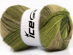 Lot of 4 x 100gr Skeins Ice Yarns ANGORA BATIK (20% Angora 20% Wool) Yarn Green Shades Khaki Camel