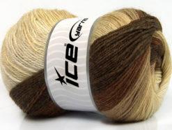Lot of 4 x 100gr Skeins Ice Yarns MERINO BATIK (30% Merino Wool) Yarn Brown Shades Cream