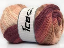 Lot of 4 x 100gr Skeins Ice Yarns MERINO BATIK (30% Merino Wool) Yarn Pink Shades Maroon