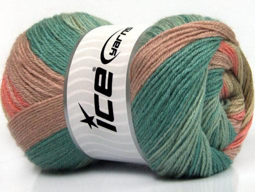 Lot of 4 x 100gr Skeins Ice Yarns MERINO BATIK (30% Merino Wool) Yarn Rose Pink Green Shades Khaki Salmon