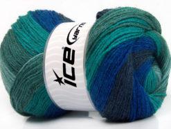 Lot of 4 x 100gr Skeins Ice Yarns MERINO BATIK (30% Merino Wool) Yarn Navy Blue Shades Green Shades