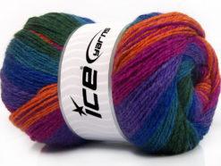 Lot of 4 x 100gr Skeins Ice Yarns MERINO BATIK (30% Merino Wool) Yarn Fuchsia Purple Turquoise Green Orange