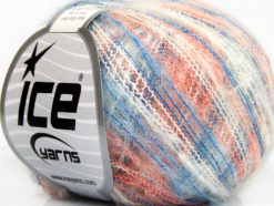 Lot of 10 Skeins Ice Yarns KID MOHAIR FLAMME (37% Kid Mohair) Yarn Blue White Salmon