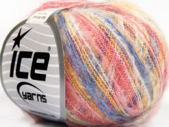 Lot of 10 Skeins Ice Yarns KID MOHAIR FLAMME (37% Kid Mohair) Yarn Pink Blue Yellow White