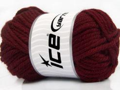 Lot of 2 x 200gr Skeins Ice Yarns ATLAS JUMBO Hand Knitting Yarn Dark Burgundy