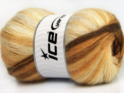 Lot of 4 x 100gr Skeins Ice Yarns ANGORA ELITE (20% Angora 20% Wool) Yarn Brown Shades Cream