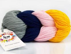 Lot of 2 x 100gr Skeins Ice Yarns ART COLOR COTTON (50% Cotton) Yarn Grey Navy Pink Dark Yellow