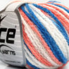 Lot of 8 Skeins Ice Yarns MONACO Hand Knitting Yarn Salmon Blue White