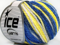 Lot of 8 Skeins Ice Yarns MONACO Hand Knitting Yarn Blue Shades Yellow White