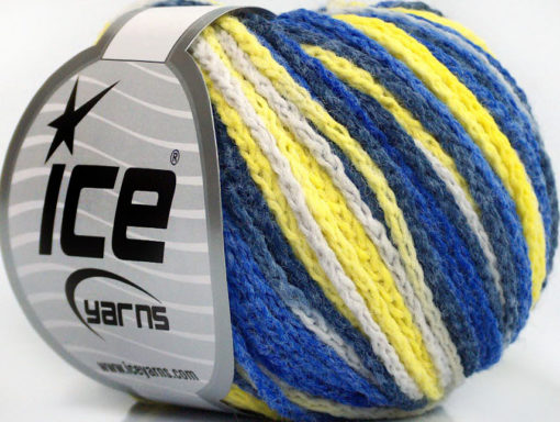 Lot of 8 Skeins Ice Yarns MONACO Hand Knitting Yarn Blue Shades Yellow White