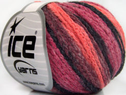 Lot of 8 Skeins Ice Yarns MONACO Hand Knitting Yarn Orchid Salmon Black Pink