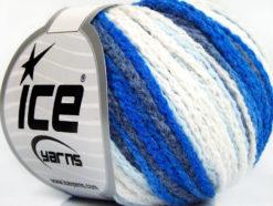 Lot of 8 Skeins Ice Yarns MONACO Hand Knitting Yarn Navy Blue Shades White