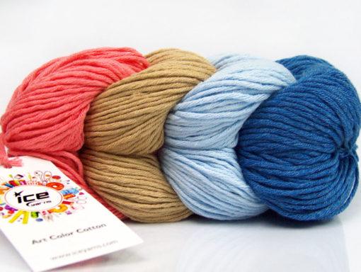 Lot of 2 x 100gr Skeins Ice Yarns ART COLOR COTTON (50% Cotton) Yarn Salmon Camel Light Blue Blue