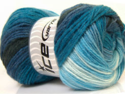 Lot of 4 x 100gr Skeins Ice Yarns MAGIC LIGHT Yarn Blue Shades Black