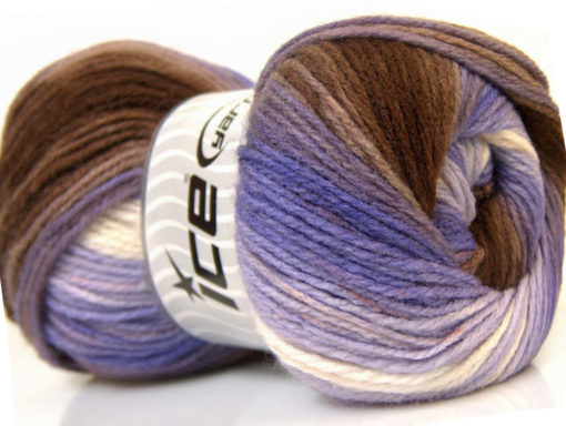 Lot of 4 x 100gr Skeins Ice Yarns MAGIC LIGHT Yarn Brown Lilac White