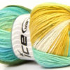 Lot of 4 x 100gr Skeins Ice Yarns MAGIC LIGHT Yarn Green Turquoise Blue White