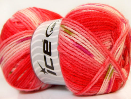 Lot of 4 x 100gr Skeins Ice Yarns BABY DESIGN Yarn Red Pink White Green