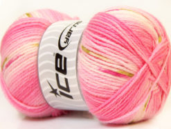 Lot of 4 x 100gr Skeins Ice Yarns BABY DESIGN Yarn Pink White green