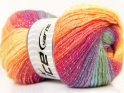 Lot of 4 x 100gr Skeins Ice Yarns MAGIC GLITZ Yarn Purple Orchid Salmon Yellow green