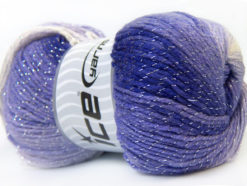 Lot of 4 x 100gr Skeins Ice Yarns MAGIC GLITZ Yarn Lilac White Silver