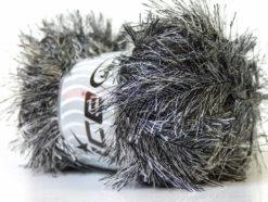 Lot of 4 x 100gr Skeins Ice Yarns EYELASH 100GR Hand Knitting Yarn Black White