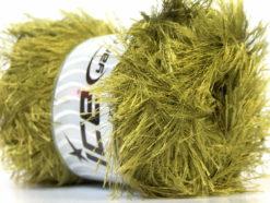 Lot of 4 x 100gr Skeins Ice Yarns EYELASH 100GR Hand Knitting Yarn Olive Green