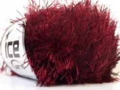 Lot of 8 Skeins Ice Yarns EYELASH Hand Knitting Yarn Dark Red