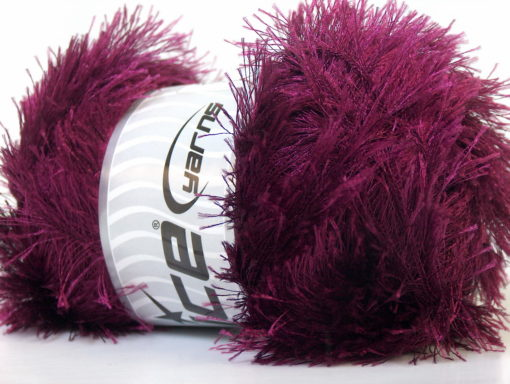 Lot of 4 x 100gr Skeins Ice Yarns EYELASH 100GR Hand Knitting Yarn Burgundy