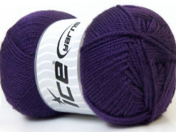 Lot of 4 x 100gr Skeins Ice Yarns DORA Hand Knitting Yarn Dark Purple