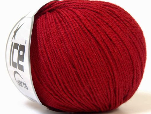 Lot of 6 Skeins Ice Yarns BABY MERINO (40% Merino Wool) Yarn Dark Red