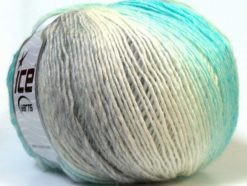 Lot of 4 x 100gr Skeins Ice Yarns MIRAGE COLOR (50% Wool) Yarn White Grey Turquoise