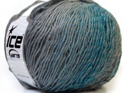 Lot of 4 x 100gr Skeins Ice Yarns MIRAGE COLOR (50% Wool) Yarn Grey Shades Turquoise