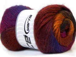 Lot of 4 x 100gr Skeins Ice Yarns MADONNA (40% Wool 30% Mohair) Yarn Purple Copper Fuchsia Gold Brown