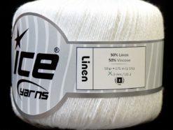 Lot of 6 Skeins Ice Yarns LINEN (50% Viscose) Hand Knitting Yarn White