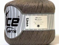 Lot of 6 Skeins Ice Yarns LINEN (50% Viscose) Hand Knitting Yarn Camel Brown