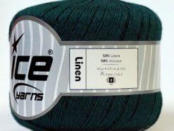Lot of 6 Skeins Ice Yarns LINEN (50% Linen 50% Viscose) Yarn Dark Green