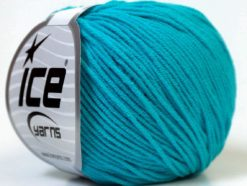 Lot of 8 Skeins Ice Yarns ALARA (50% Cotton) Hand Knitting Yarn Turquoise