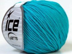Lot of 8 Skeins Ice Yarns ALARA (50% Cotton) Hand Knitting Yarn Turquoise