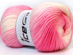Lot of 4 x 100gr Skeins Ice Yarns BABY BATIK Yarn Pink Shades White