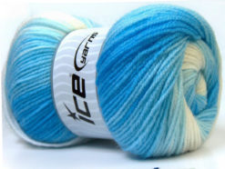 Lot of 4 x 100gr Skeins Ice Yarns BABY BATIK Yarn Blue Shades White