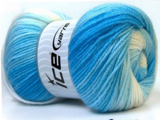 Lot of 4 x 100gr Skeins Ice Yarns BABY BATIK Yarn Blue Shades White