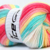 Lot of 4 x 100gr Skeins Ice Yarns BABY BATIK Yarn Fuchsia Mint Green Pink Yellow White
