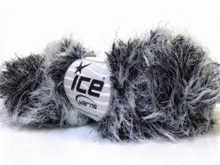 Lot of 3 x 100gr Skeins Ice Yarns SMOOTH FUR Hand Knitting Yarn Black White