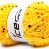 Lot of 4 x 100gr Skeins Ice Yarns PUFFY POMPOM (85% MicroFiber) Yarn Dark Yellow